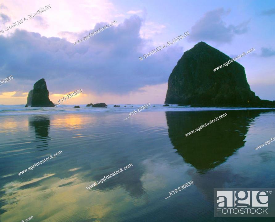 Imagen: Haystack Rock & the Needles on Cannon Beach at sunset. Oregon. USA.