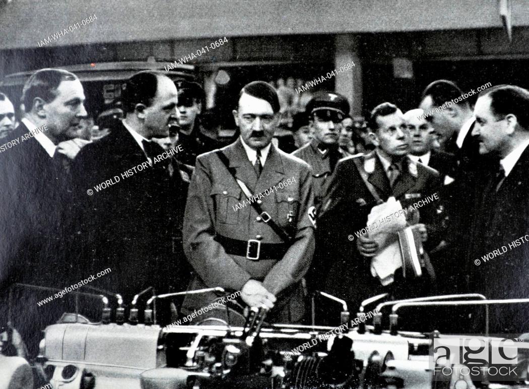 Stock Photo: Adolf Hitler 1889-1945. German politician at a automobile exhibition in Berlin 1935.