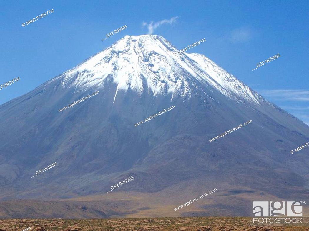 Stock Photo: Licancábur volcano, from San Pedro de Atacama, Chile.