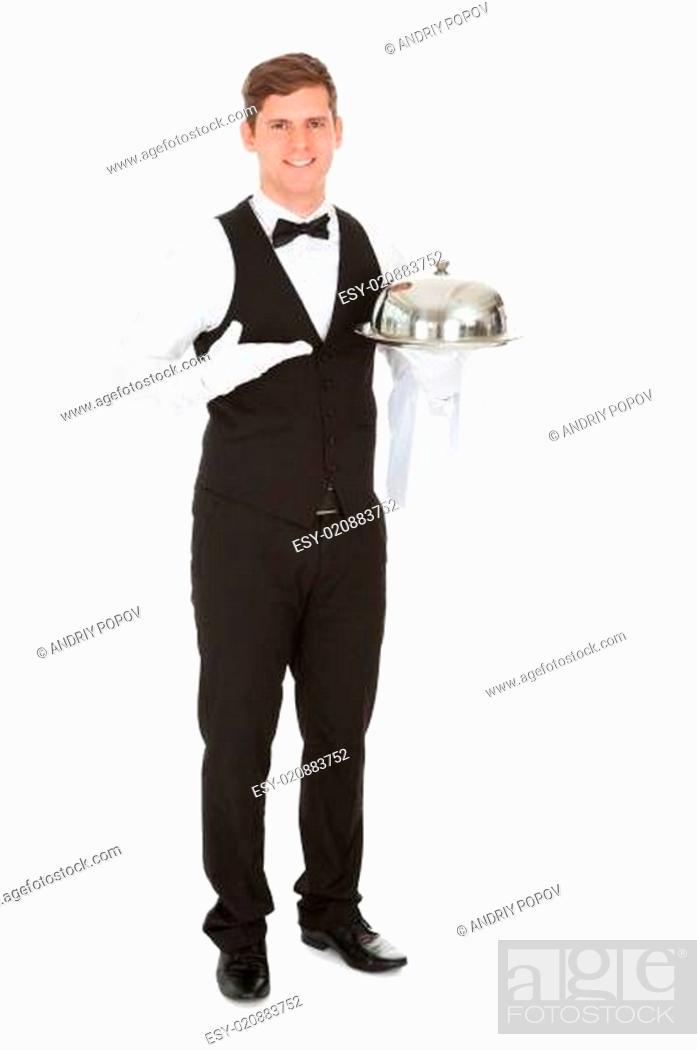 Stock Photo: Waiter Holding Empty Silver Tray.