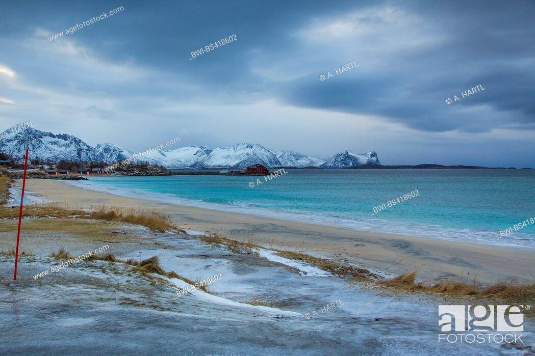 Stock Photo: white sandy beach at Skaland Beach, Norway, Fylke Troms, Bergfjord auf Senja.