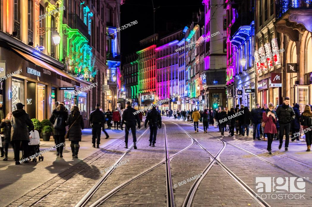 Stock Photo: Strasbourg city street on time of Christmas market.