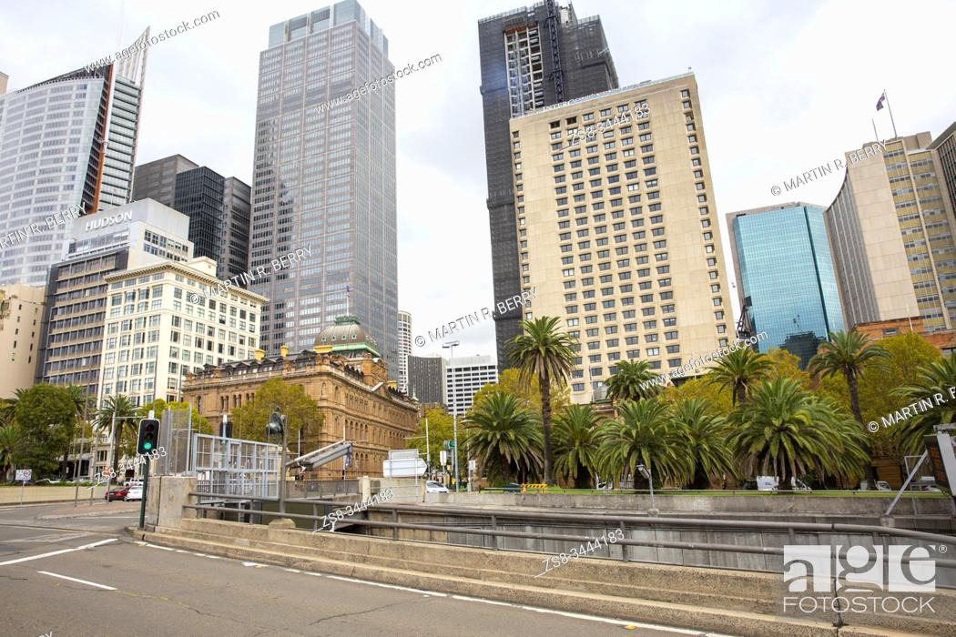 Stock Photo: Sydney office towers on Macquarie street in the City centre.