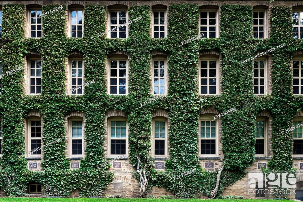 Stock Photo: Nassau Hall ivy, Princeton University Campus, Princeton, New Jersey, USA.