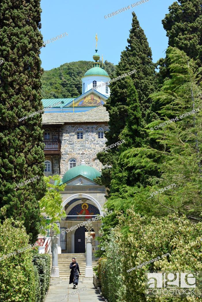 Stock Photo: Greece, Chalkidiki, Mount Athos peninsula, listed as World Heritage, Russian monastery of St Panteleimon, also called Rossikon.