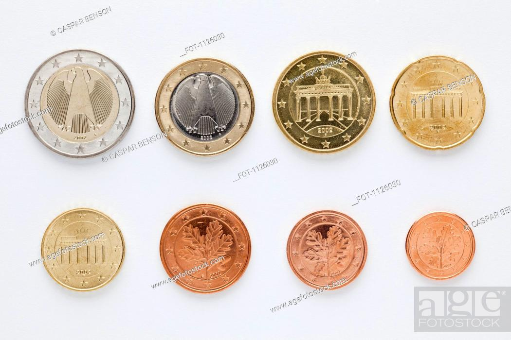 Stock Photo: German euro coins arranged in numerical order, rear view.