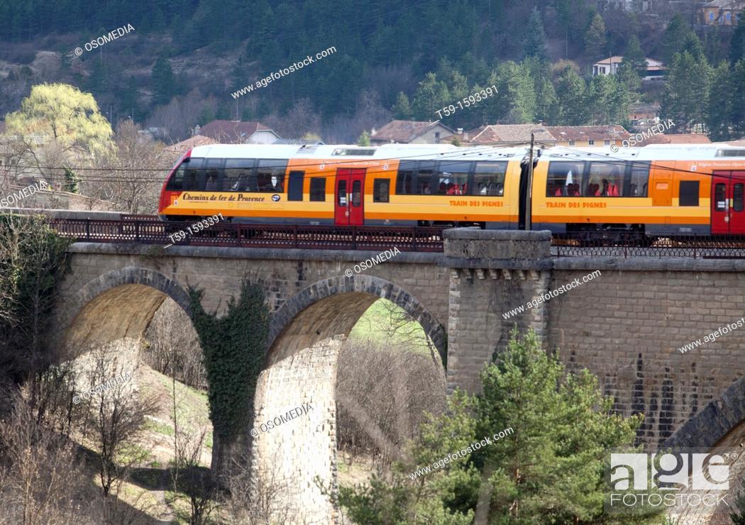 Stock Photo: Train les Pignes between Digne and Nice, Cote d Azur. France.