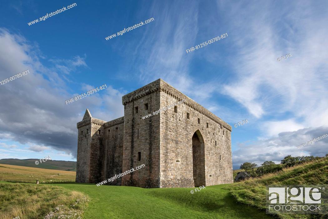 Stock Photo: Medieval castle keep, Hermitage Castle, near Newcastleton, Roxburghshire, Scotland, September.