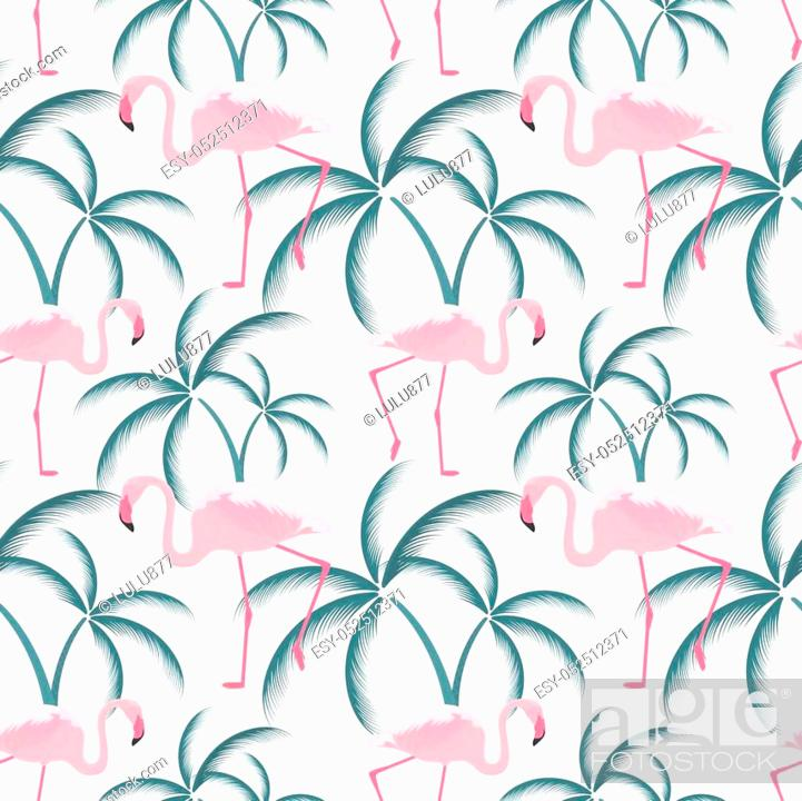 Stock Vector: A pink flamingo stands near a palm tree. Seamless Pattern.