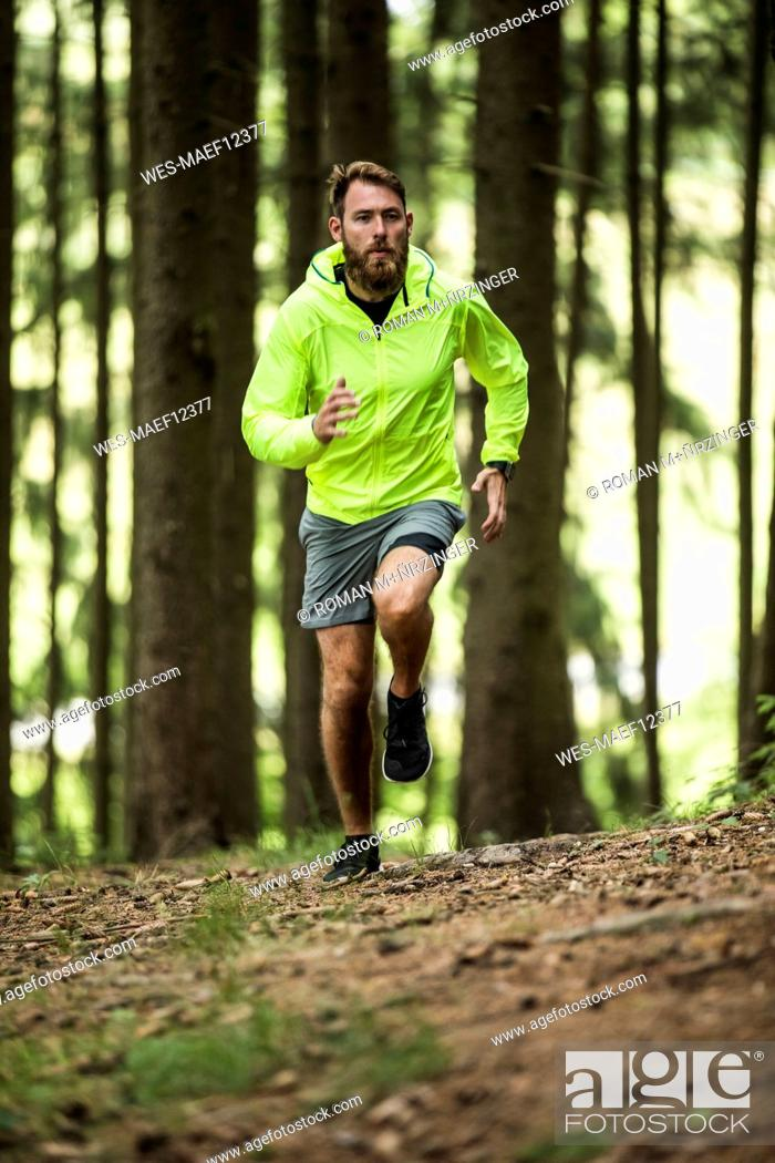 Stock Photo: Man running in forest.