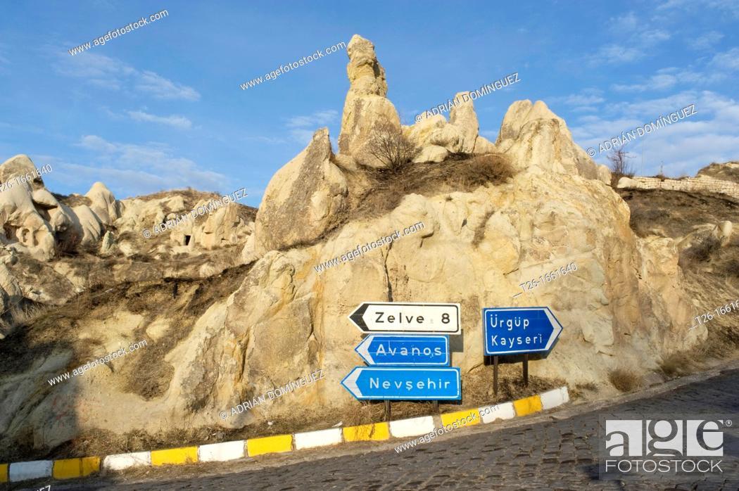 Stock Photo: Signals on the road in Capadoccia, Turkey.