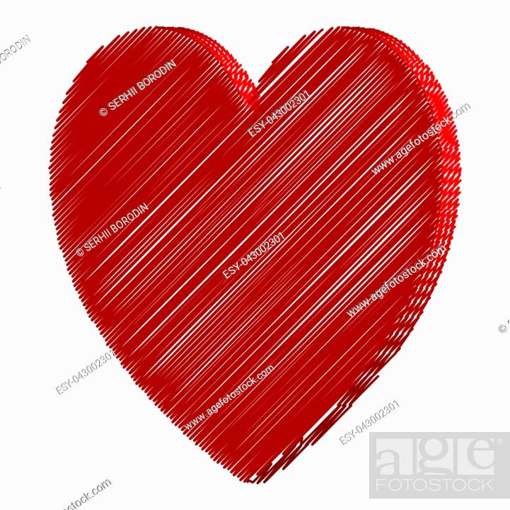 Stock Vector: Heart red color with strokes art style.