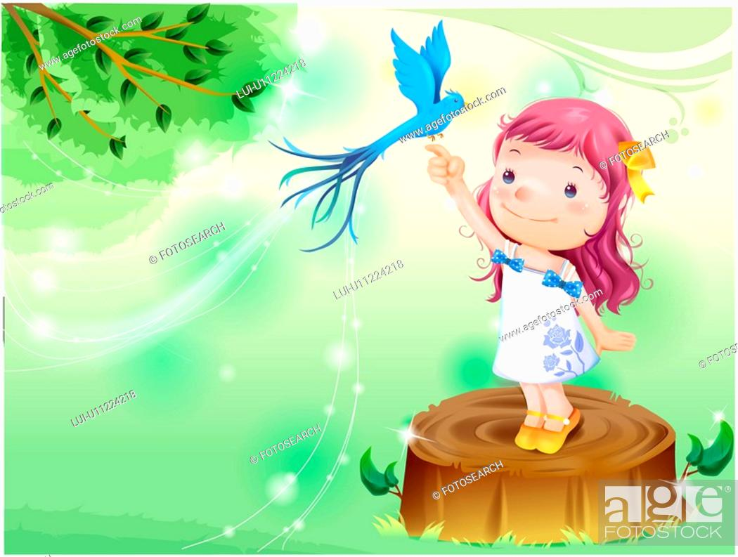 Stock Photo: standing, fairy tale, bird on finger, bird, forest, nature.
