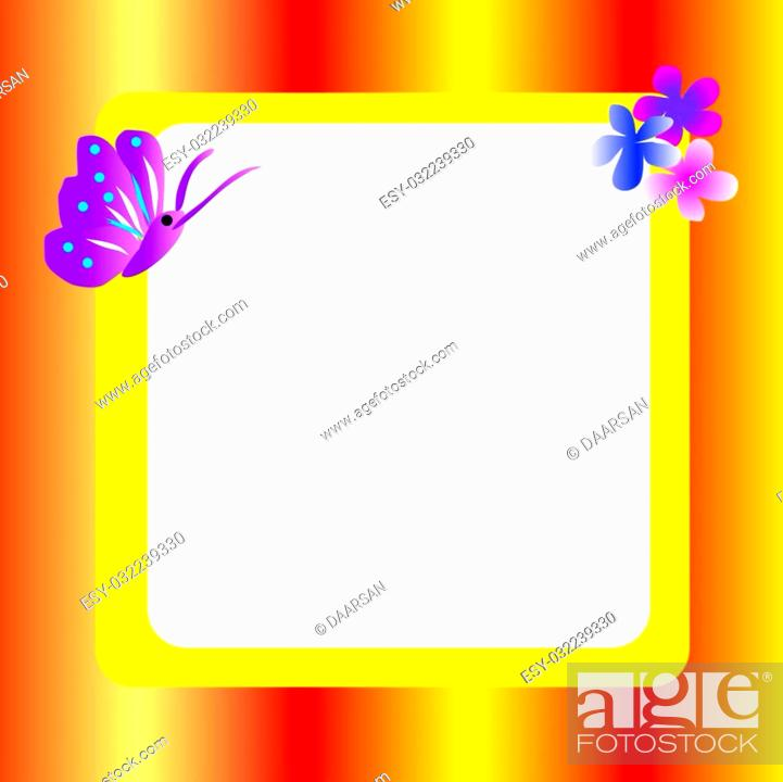Stock Photo: Orange, red, yellow frame with flowers and butterflies.