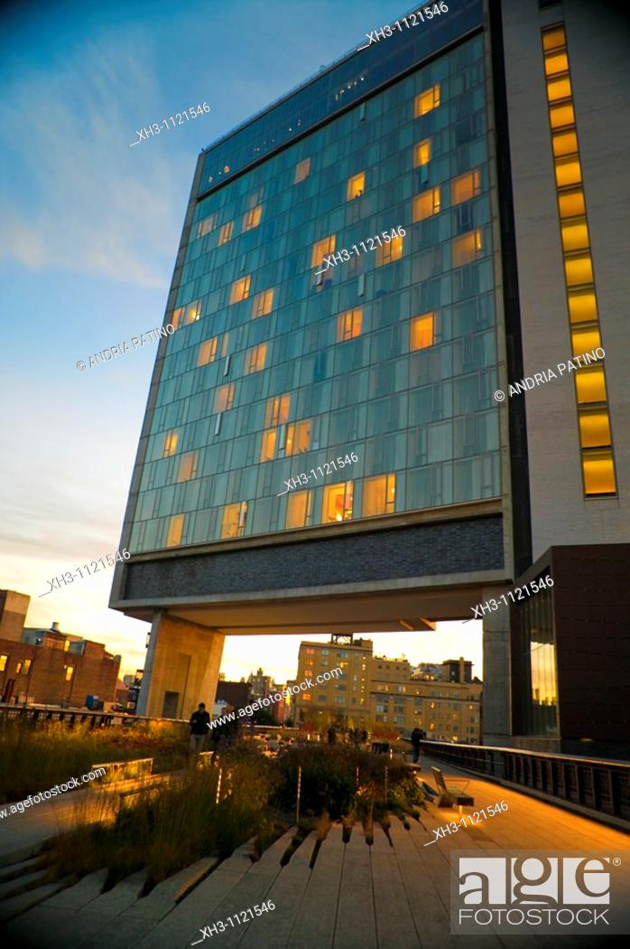 Stock Photo: Standard Hotel from High Line Elevated Park, New York City.