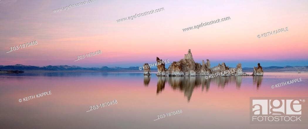 Stock Photo: Snow-covered tufa towers on Mono Lake, under pink and blue dusk sky  Mono County, Eastern Sierras, California, USA.
