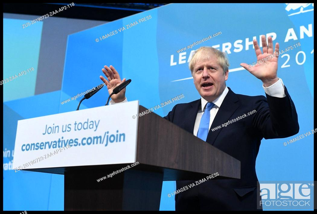 Stock Photo: July 23, 2019 - London, London, United Kingdom - Conservative Party Leader Announced. Boris Johnson and Jeremy Hunt and the announcement of the result of the.
