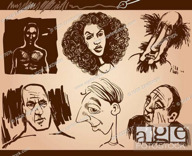 Imagen: people faces caricature sketch drawings set.