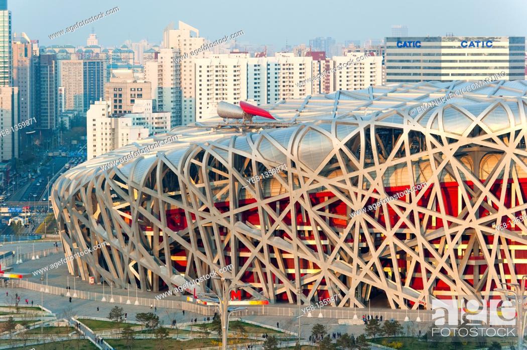 Stock Photo: Bird's Nest National Stadium by architects Herzog and De Meuron, 2008, Olympic Green, Beijing, China, Asia.