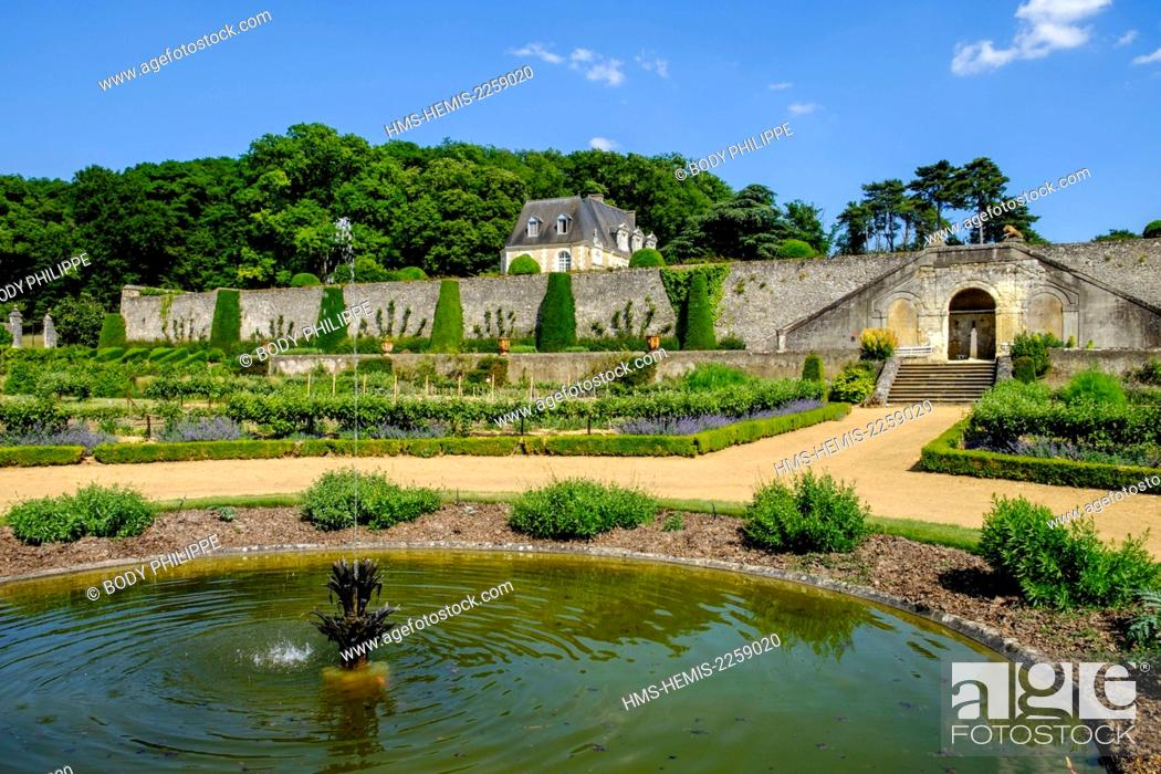 Stock Photo: France, Indre et Loire, Loire Valley listed as World Heritage by UNESCO, Chancay, Castle and Gardens of Valmer, 16 th century, renaissance style.