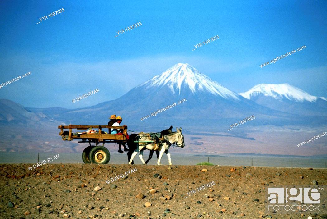 Stock Photo: Chile, San Pedro de Atacama, An Indian cart before some Andes Volcanoes.