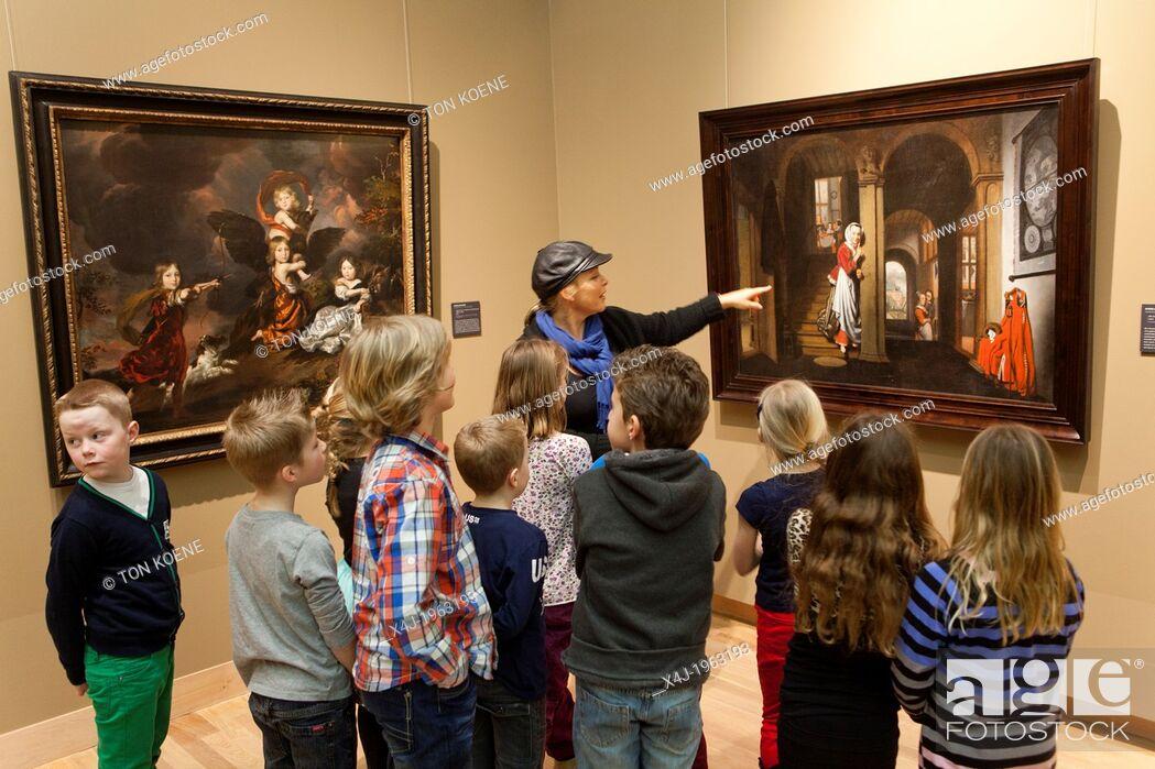 Stock Photo: Dutch children at the museum in dordrecht.
