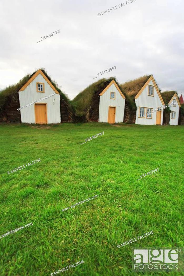 Stock Photo: Turf Roofed Farm Museum, Varmahlid, Iceland.
