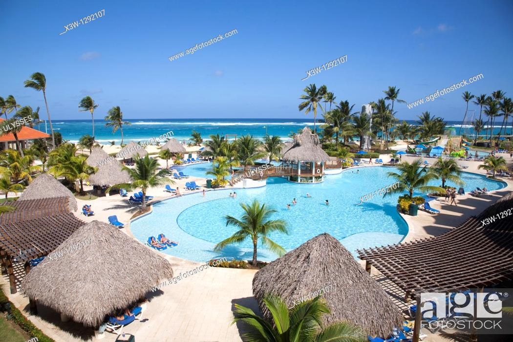 Stock Photo: america, caribbean sea, hispaniola island, dominican republic, punta cana, hotel barcelo punta cana, swimming pool.