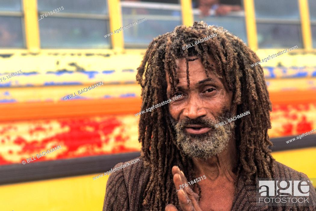 Stock Photo: Colorful portrait of native man with dreadlocks in Belize.