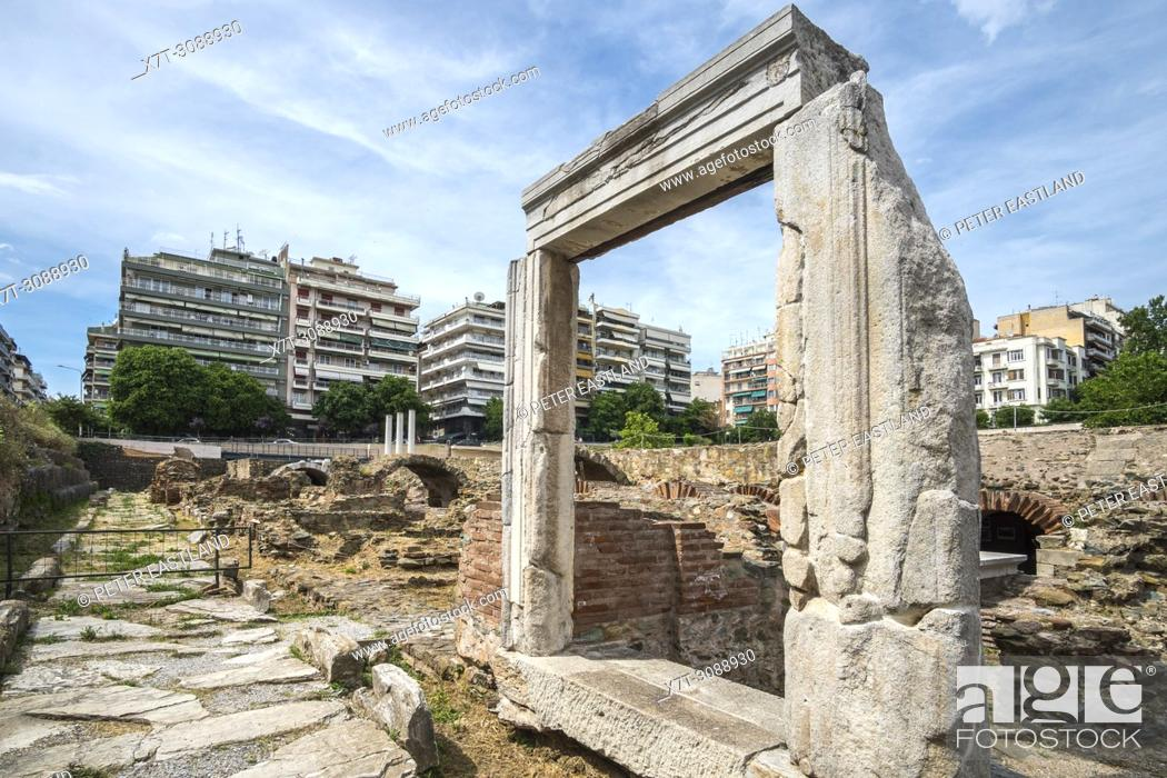 Stock Photo: The Roman Forum in the center of Thessaloniki, surrounded by the modern city, Macedonia, Northern Greece.