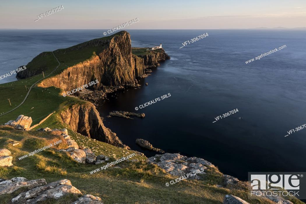 Stock Photo: summer sunset at Neist Point Lighthouse, Isle of Skye, Inner hebrides, Scotland, Europe.