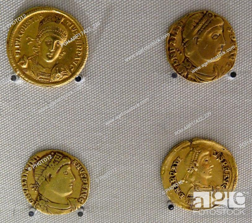 Four Roman Gold Coins issued by the Emperors Constantius II