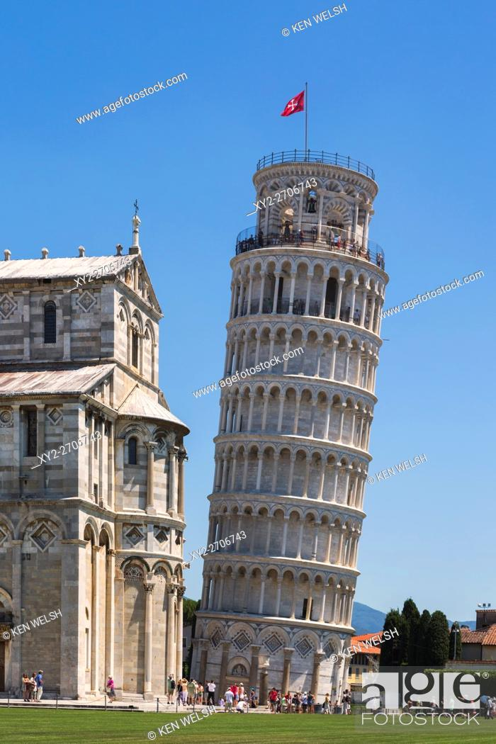 Stock Photo: Pisa, Pisa Provence, Tuscany, Italy. Leaning tower of Pisa in the Piazza del Duomo (Cathedral Square), also known as Piazza dei Miracoli (Square of Miracles).