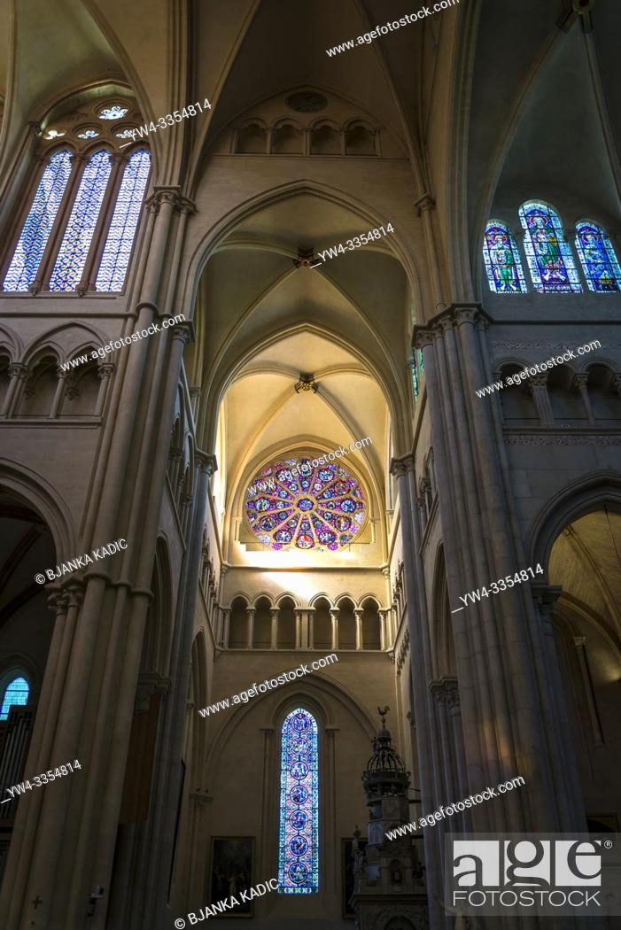 Stock Photo: Rose window in the transept of the Lyon Cathedral, The cathedral is dedicated to Saint John the Baptist, and is the seat of the Archbishop of Lyon, Lyon, France.