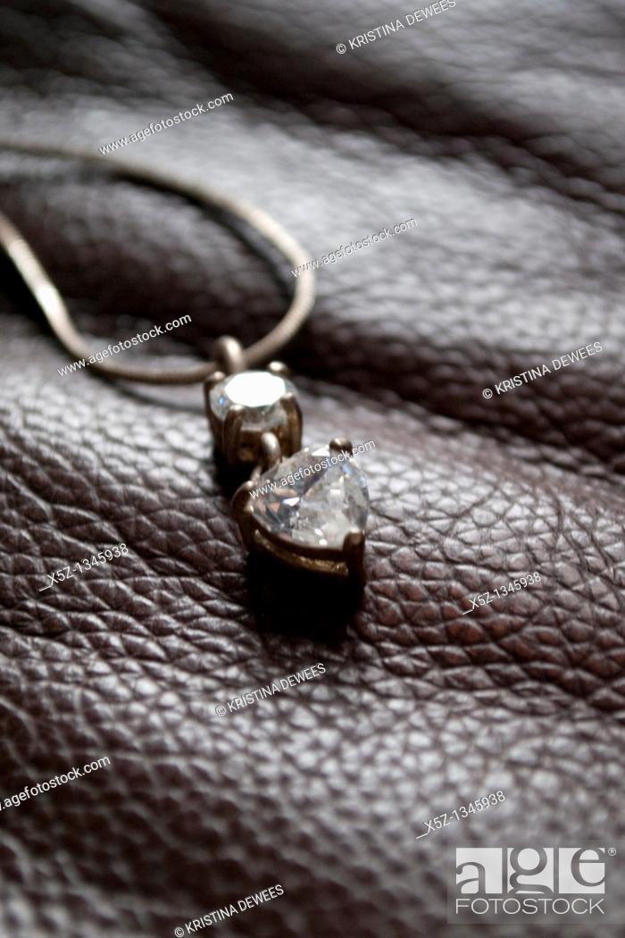 Stock Photo: A diamond heart necklace.