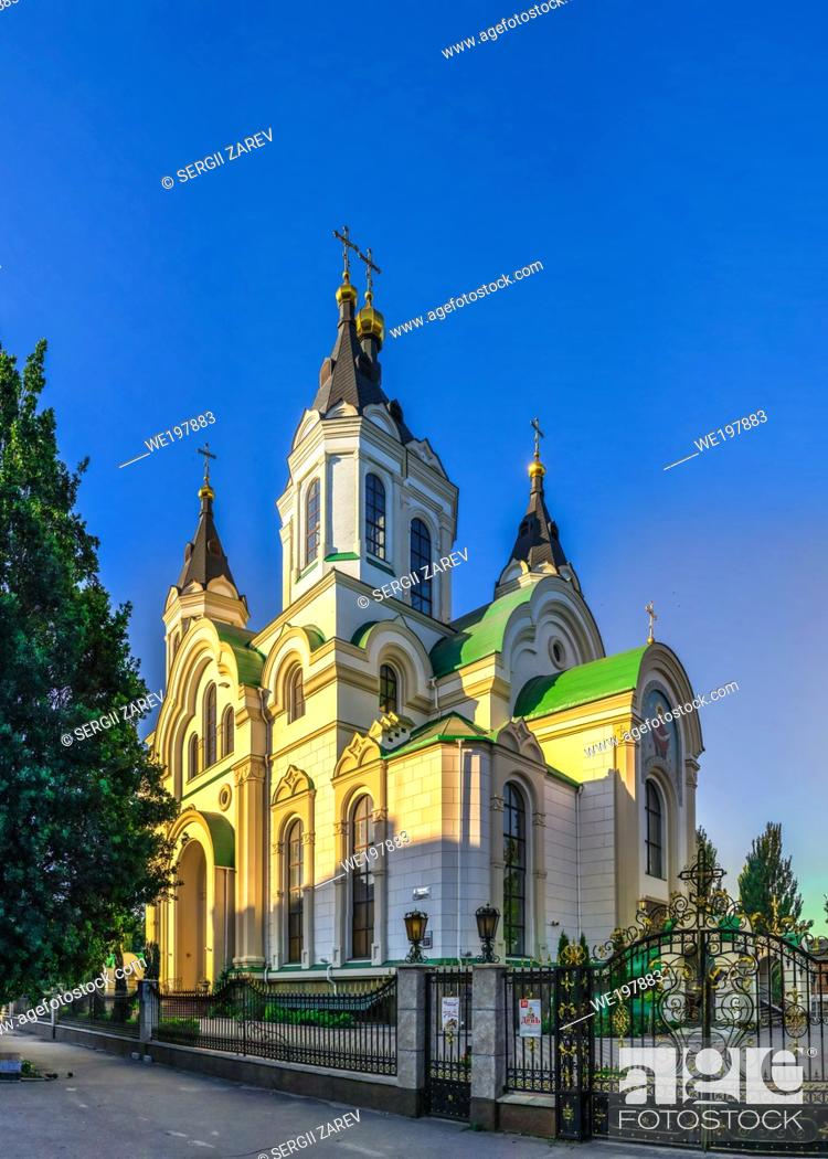 Stock Photo: Zaporozhye, Ukraine 07. 21. 2020. Holy Protection Cathedral in Zaporozhye, Ukraine, on a sunny summer morning.