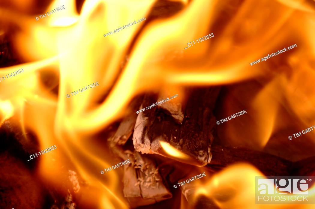 Stock Photo: Abstract flames against black background.