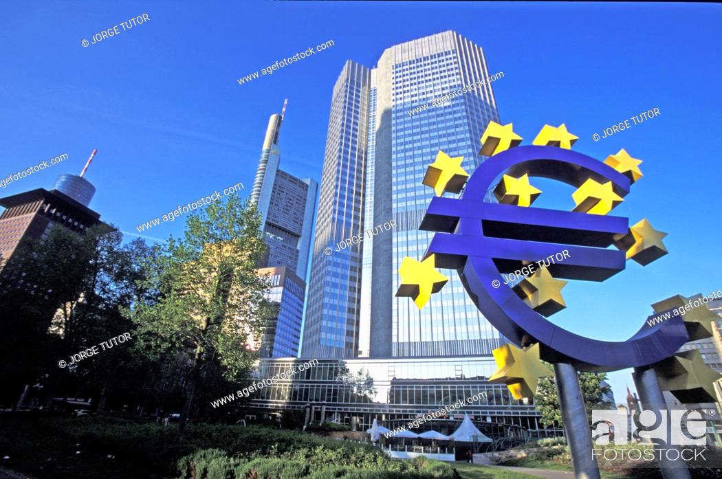 Stock Photo: Euro symbol in front of the European Central Bank headquarters in Frankfurt, Germany Willy-Brandt-Platz.