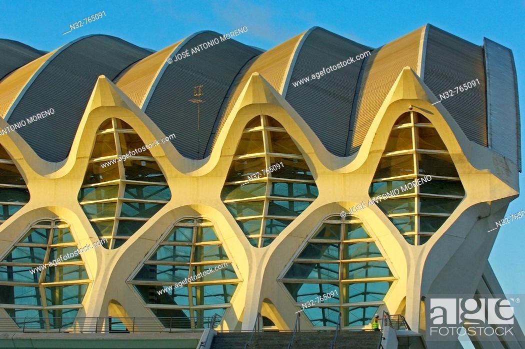 Stock Photo: Príncipe Felipe museum of sciences, City of Arts and Sciences by S  Calatrava  Valencia, Comunidad Valenciana, Spain.