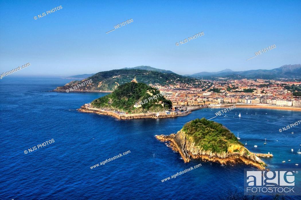 Stock Photo: View of Santa Clara Island, Urgull and Ulia mountains, from Igueldo Mountain, Donostia-San Sebastián, Guipuzcoa, Basque Country, Spain.