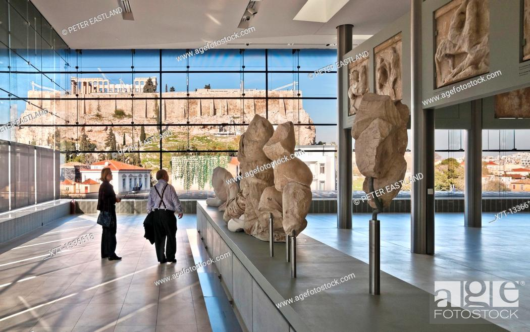 Stock Photo: The Parthenon and Acropolis seen through the windows of the new Acropolis Museum, designed by architect Bernard Tschumi, Athens, Greece.