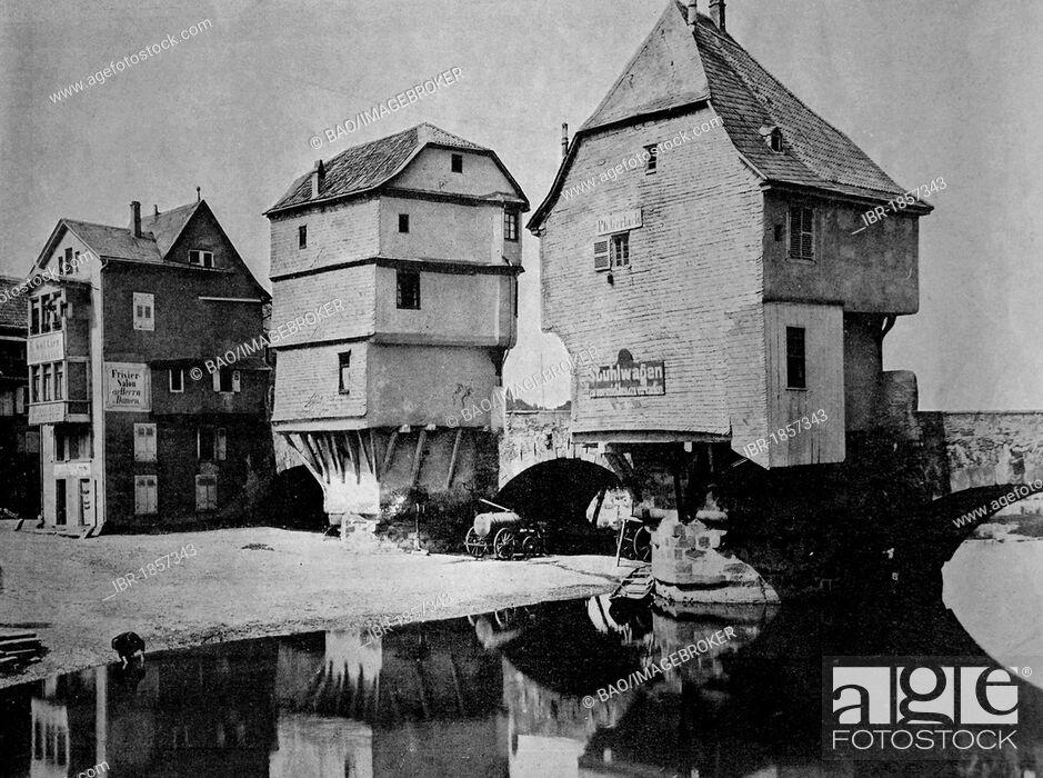 Stock Photo: Early autotype of the houses on the old Nahe bridge in Bad Kreuznach, Rhineland-Palatinate, Germany, historical photograph, 1884.