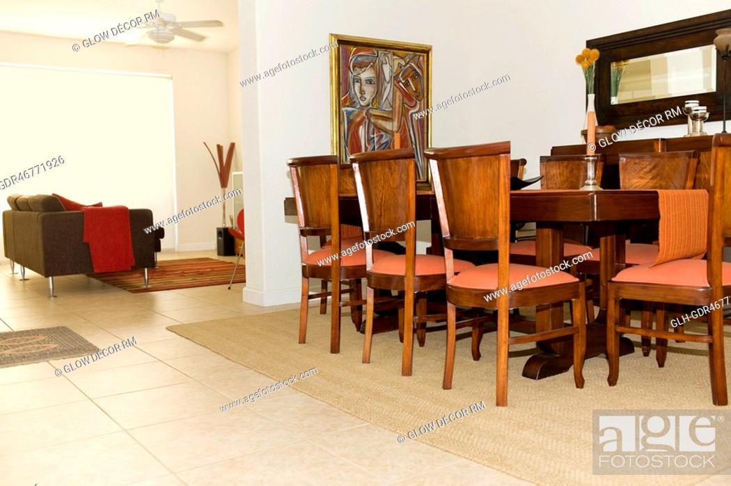 Photo de stock: Interiors of a dining room.