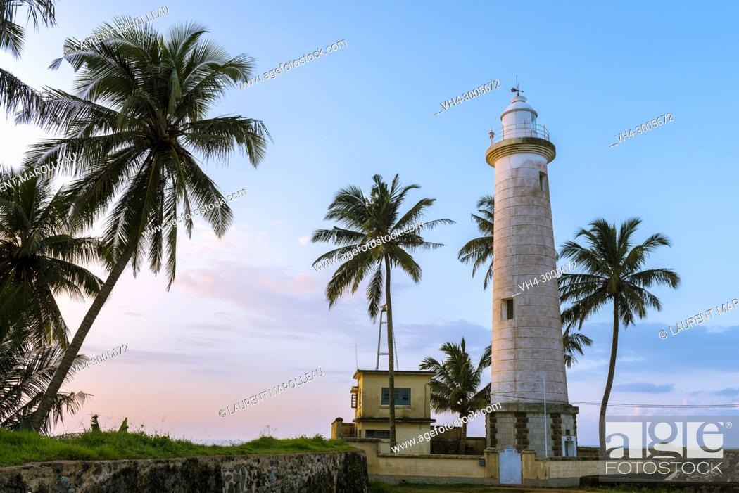 Stock Photo: Lighthouse and Palm Trees in Galle Fort at Sunrise, Old Town of Galle and its Fortifications, Southern Province, Sri Lanka, Asia.