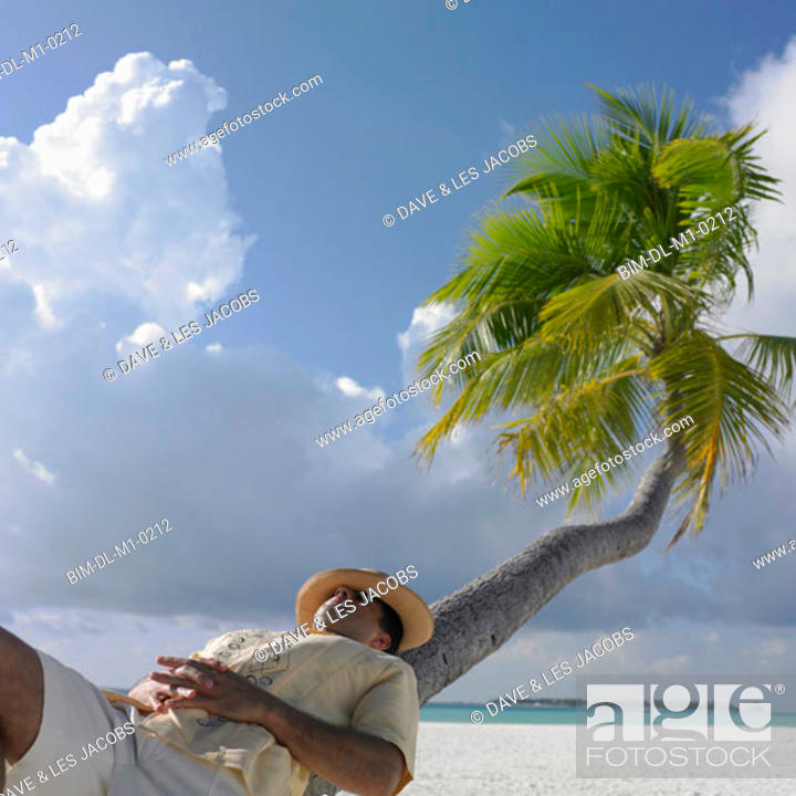 Stock Photo: Man relaxing on a palm tree at the beach.