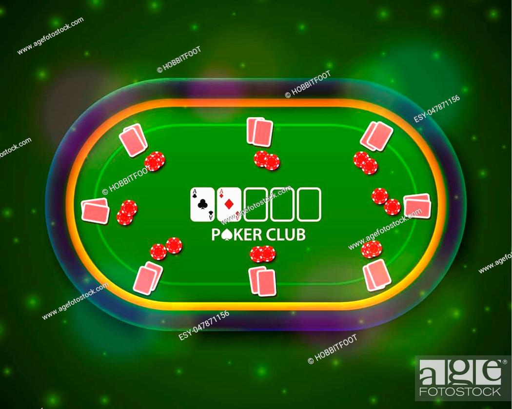 Poker Table With The Cards And Chips On A Green Background Stock Vector Vector And Low Budget Royalty Free Image Pic Esy 047871156 Agefotostock
