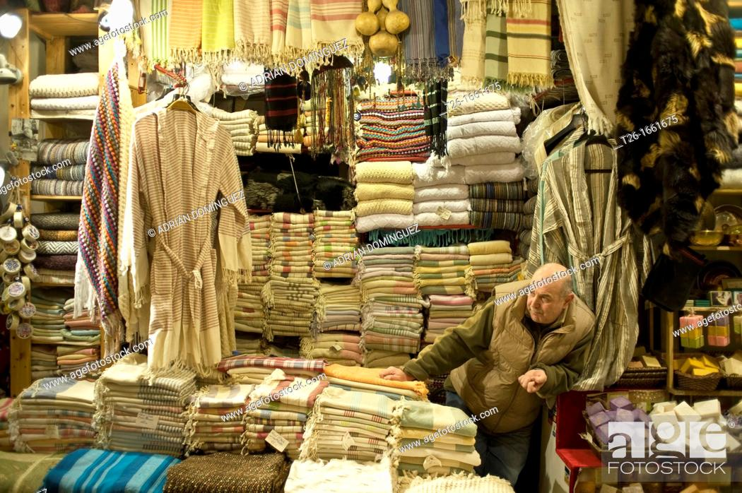 Stock Photo: Man at Grand Bazar store in Istanbul, Turkey.