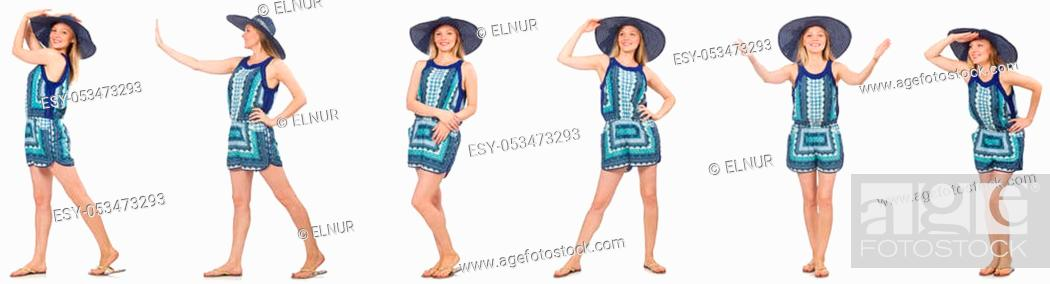Stock Photo: Collage of woman in blue dress and panama on white.