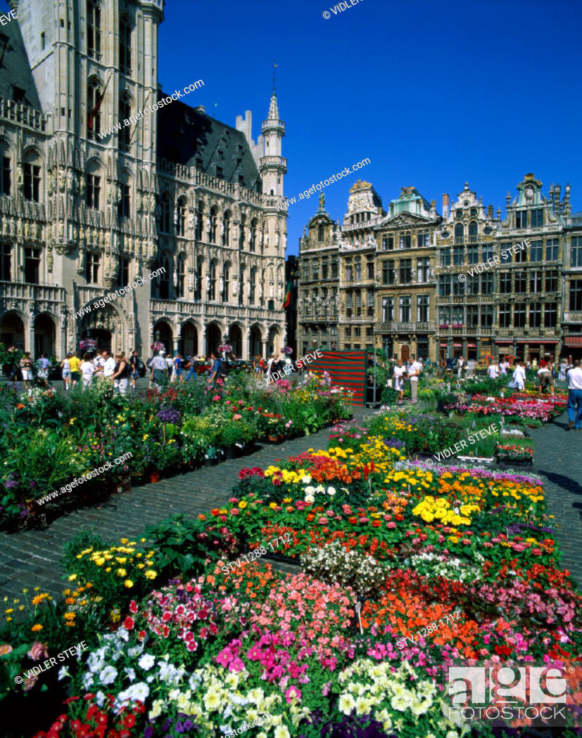 Stock Photo: Belgium, Europe, Brussels, Europe, Flowers, Grand place, Holiday, Landmark, Market, Medieval, Tourism, Travel, Vacation,.
