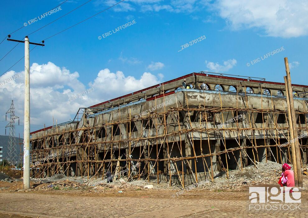 Stock Photo: Ethiopia, Addis Abeba Region, Addis Ababa, wooden scaffolding on construction site of new office building.